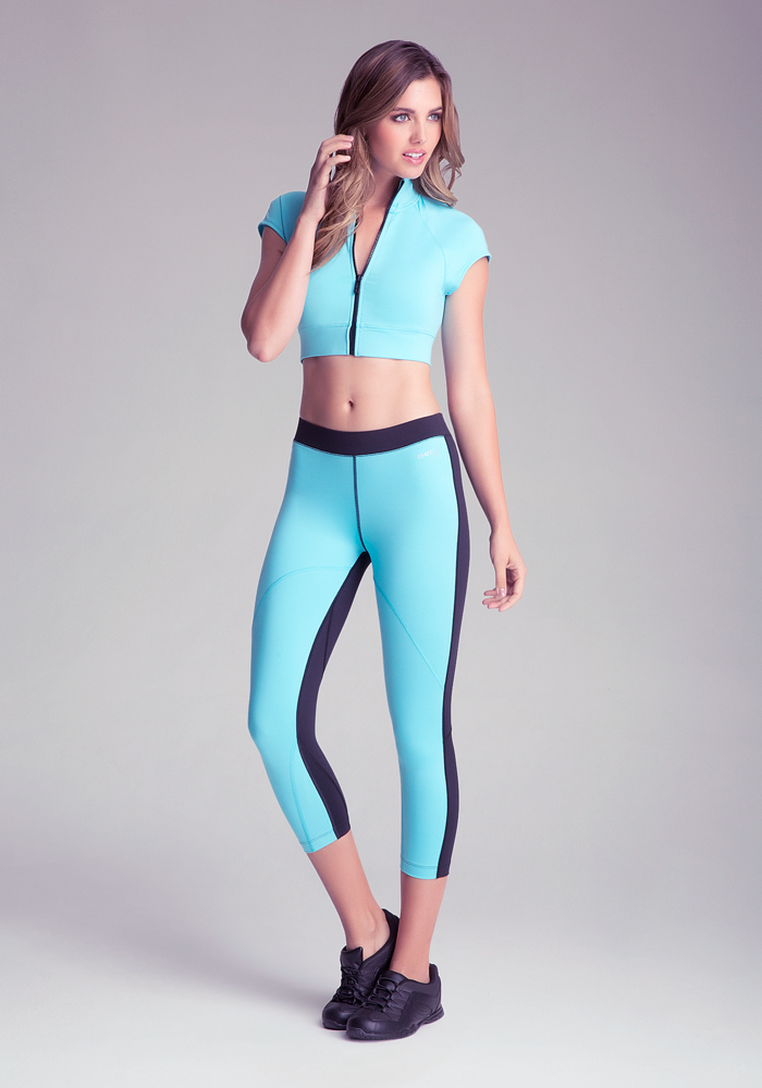 womens red spandex pants photo - 2