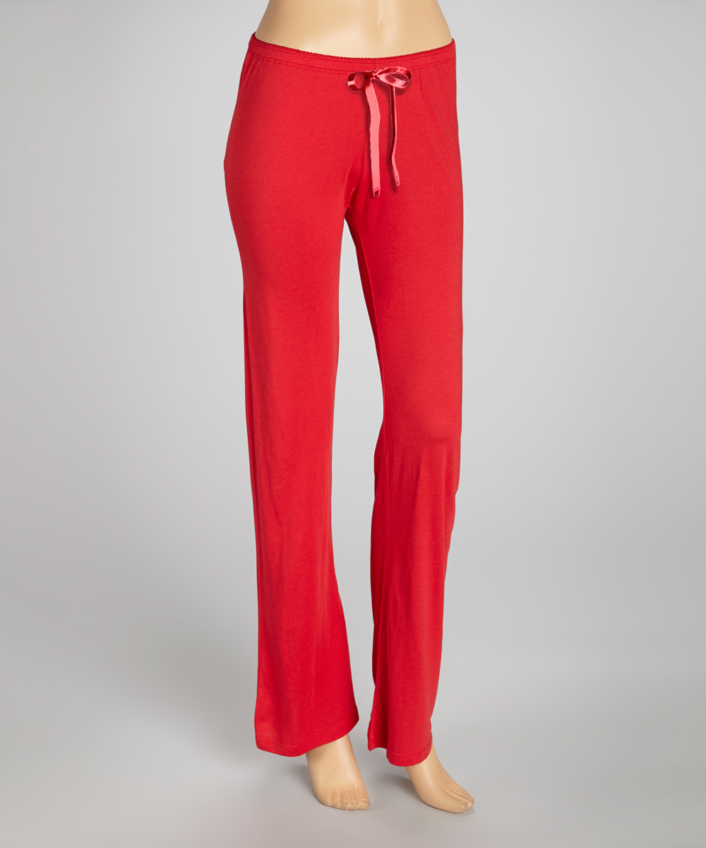womens solid red pajama pants photo - 1