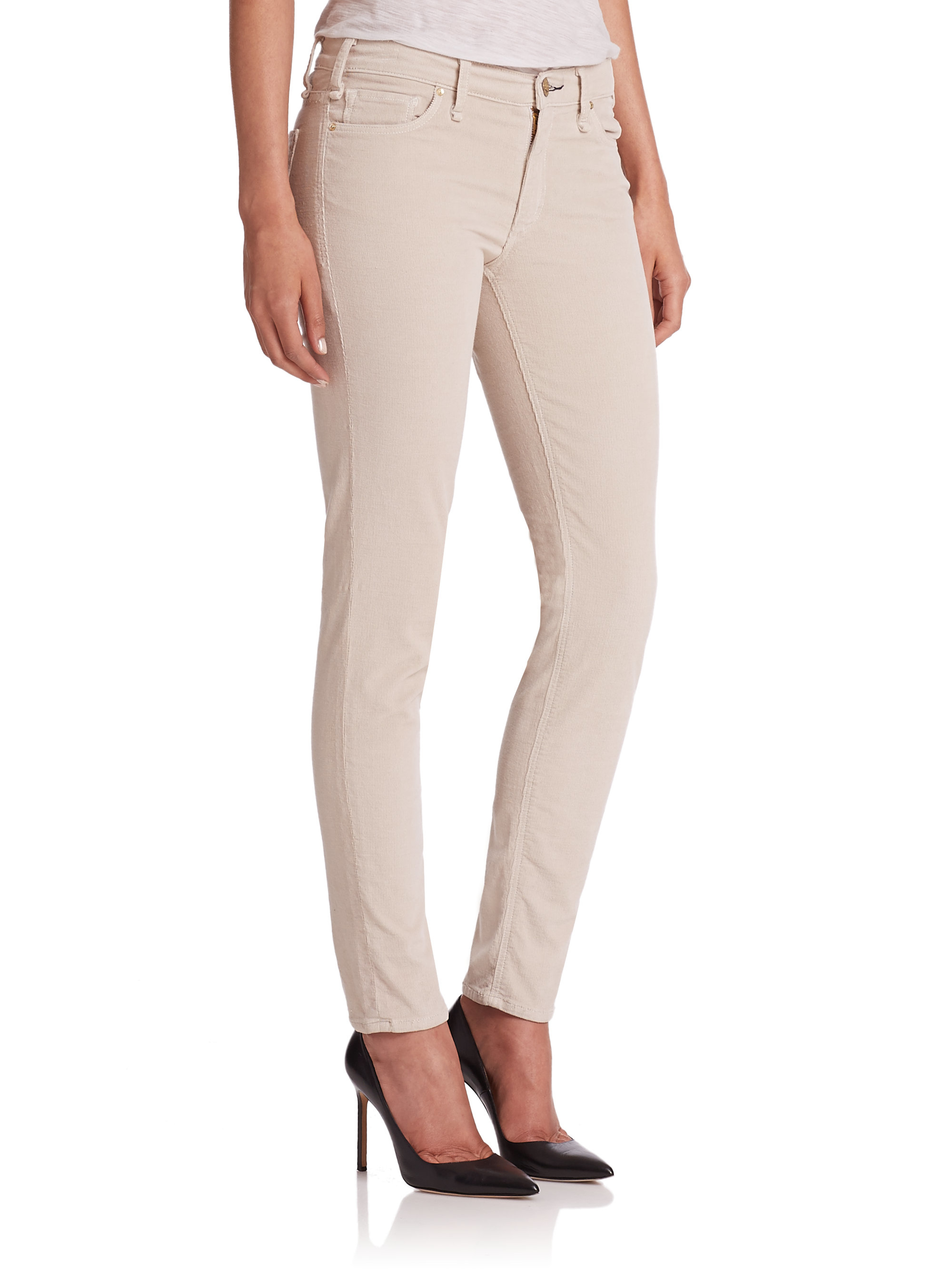 womens white corduroy pants photo - 2