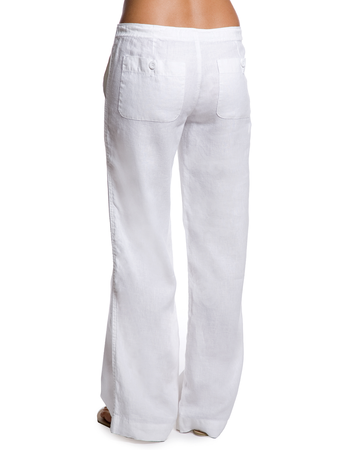 womens white drawstring pants photo - 1