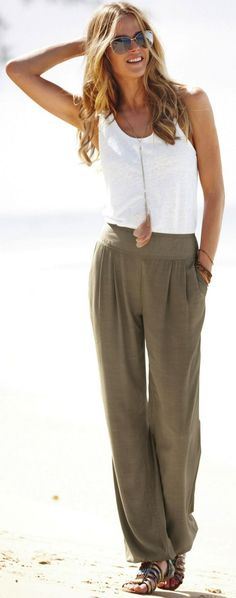 womens white linen pants outfit photo - 1