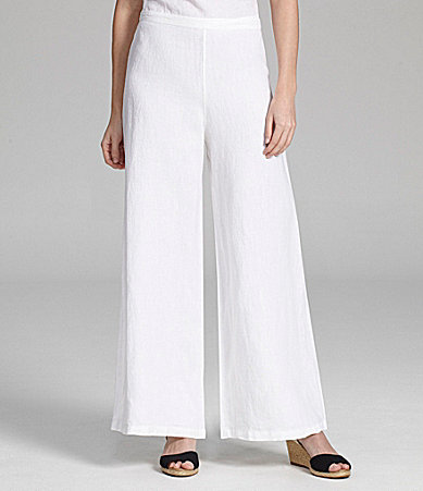 womens white linen pants sale photo - 2