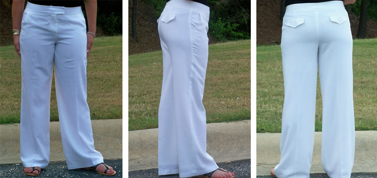 womens white linen pants with lining photo - 1