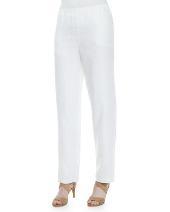 womens white linen pants with lining photo - 2