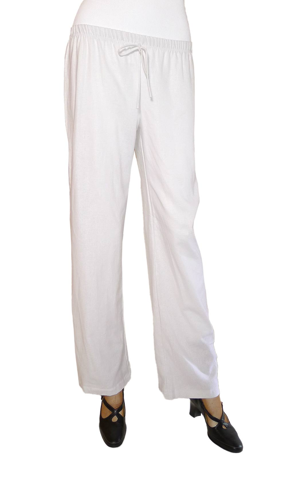 womens white rayon pants photo - 1