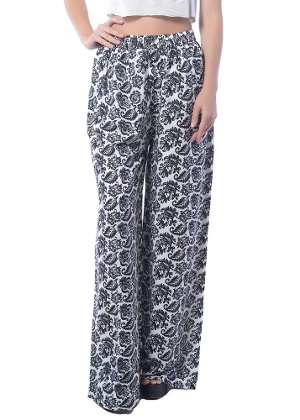womens white rayon pants photo - 2