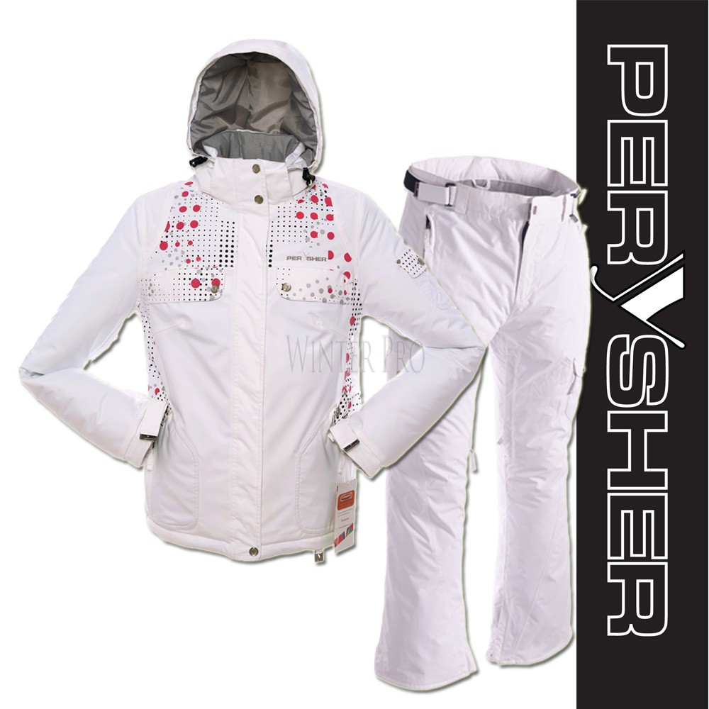 womens white ski pants xs photo - 2