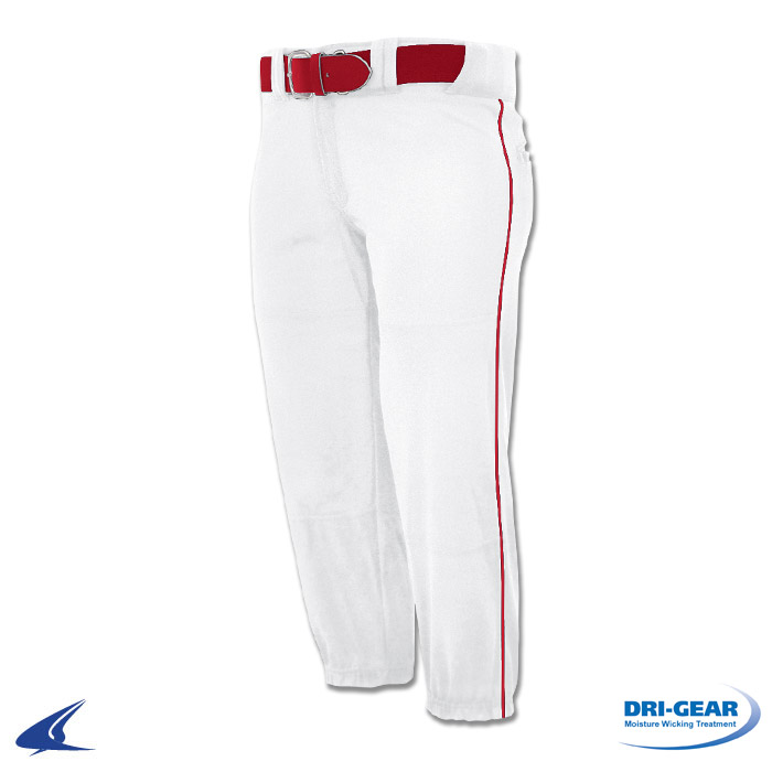 womens white softball pants with red piping photo - 1