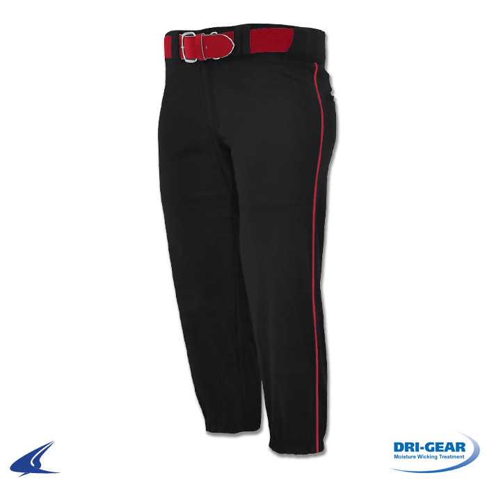 womens white softball pants with red piping photo - 2