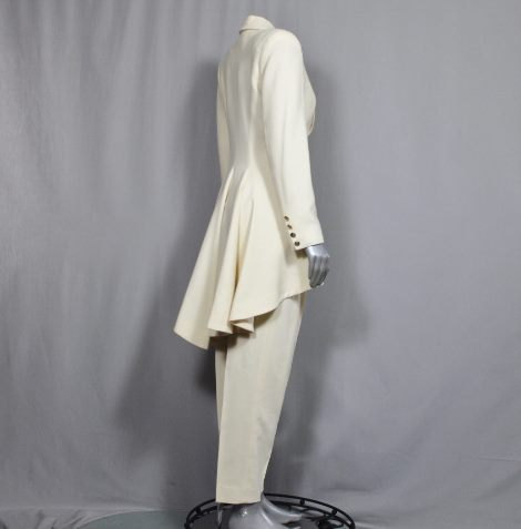 womens white tuxedo pants suit photo - 1