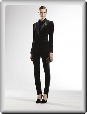 womens white tuxedo pants suit photo - 2