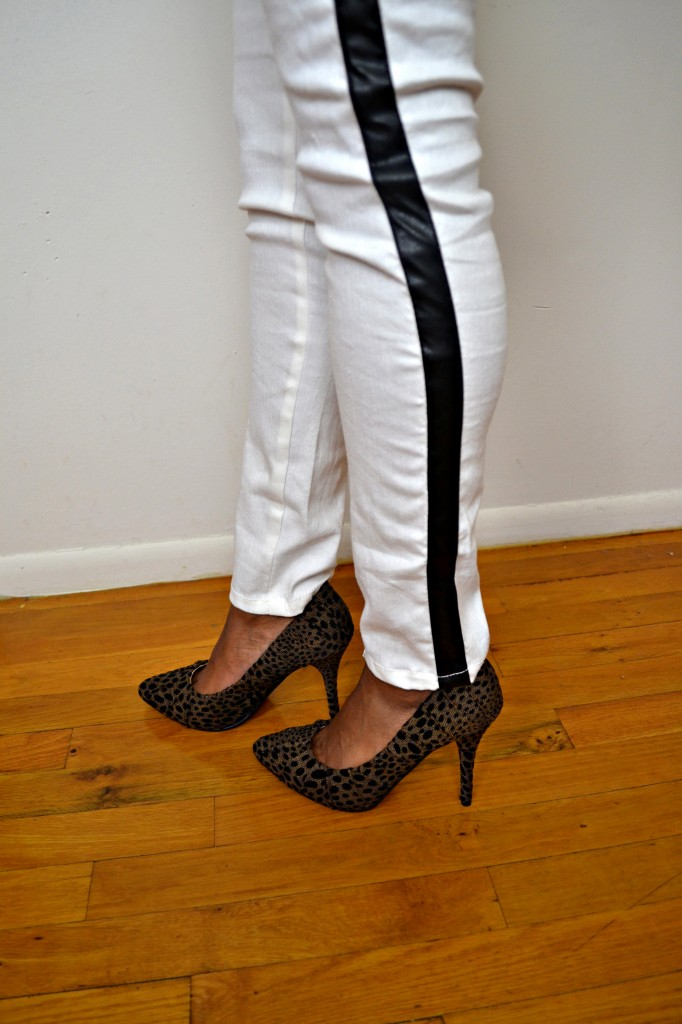 womens white tuxedo pants with black stripe photo - 1