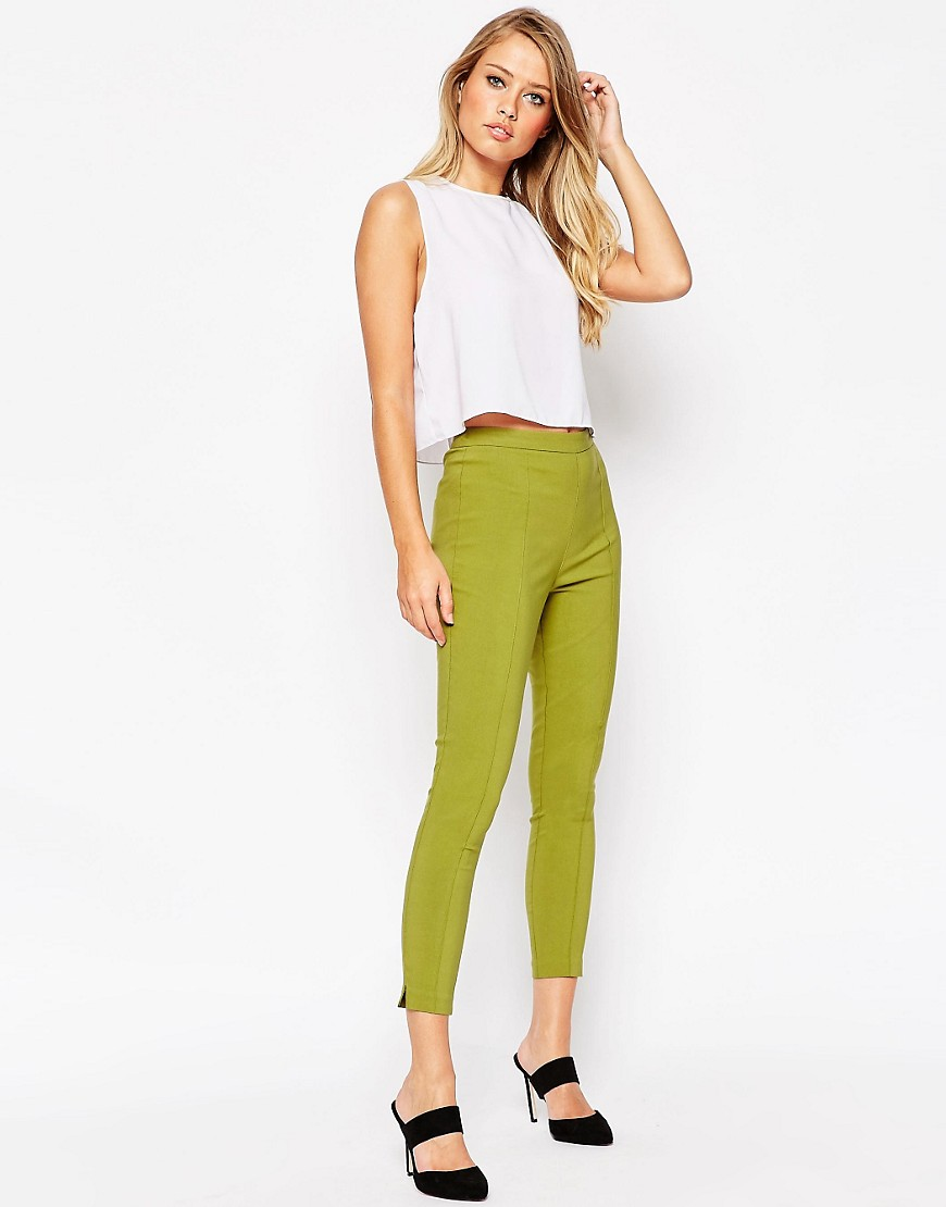 womens white twill pants photo - 1