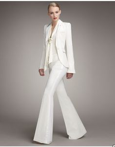 womens white wedding pants suits photo - 1