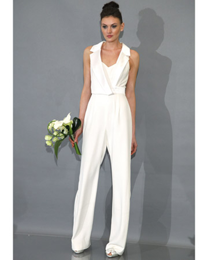 womens white wedding pants suits photo - 2